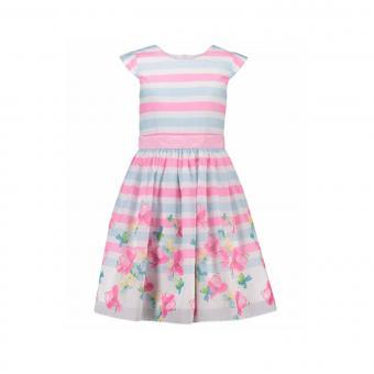 Mädchen Kleid festlich gestreift mit Blumen, rosa - 981384
