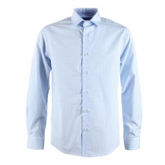 Jungen festliches Hemd Slim-Fit langarm, kariert, hellblau - 5545800hellb