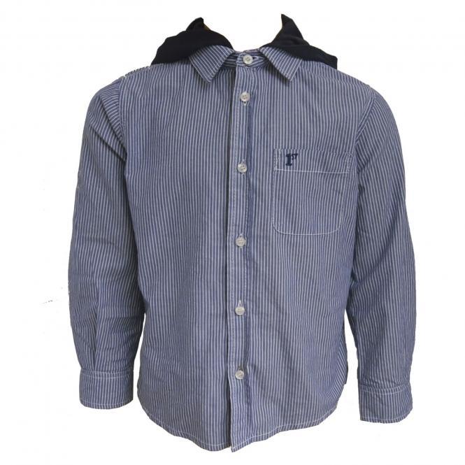 festliches, sportliches Jungenhemd mit Kapuze, blau-gestreift