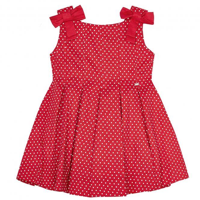 Mayoral Sommerkleid Trägerkleid gepunktet mit Schleifen, rot - 3.917r