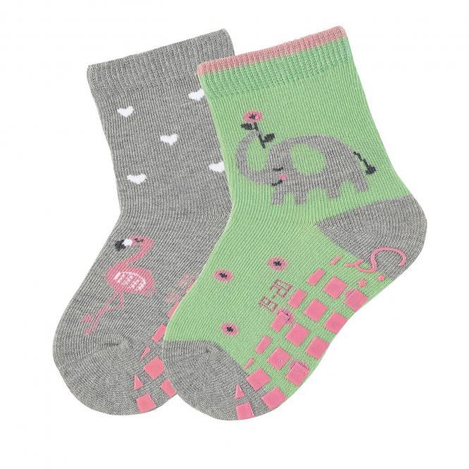 "Mädchen Anti-Rutsch-Socken 2 Paar ABS-Söckchen Doppelpack ""Elefant/Flamingo"", hellgrün/silbergrau - 8002023"