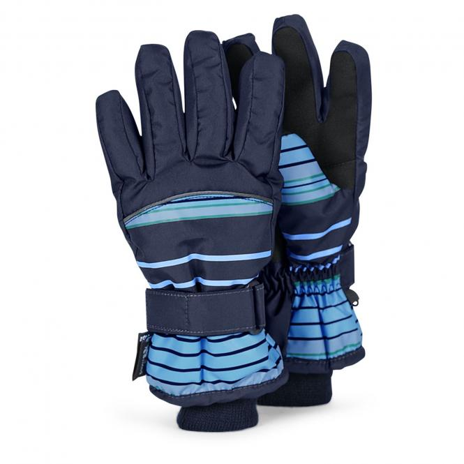 Jungen Fingerhandschuh Thermo-Handschuh gemustert, blau - 4331600b