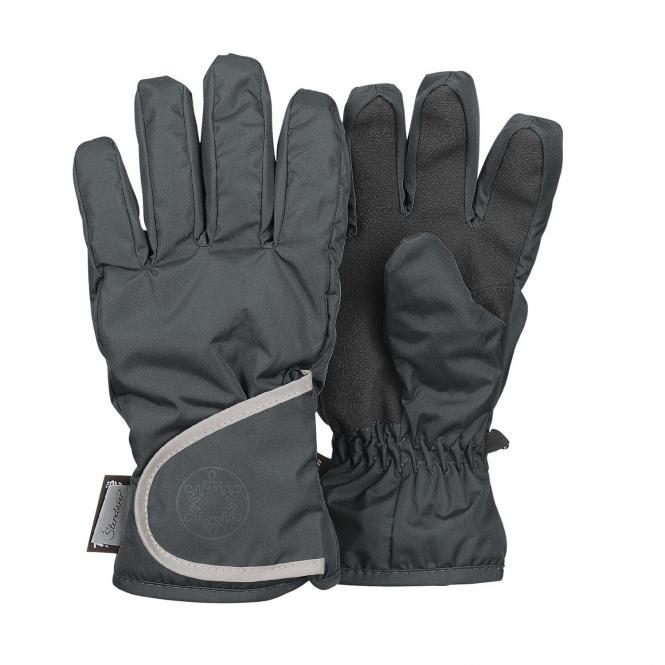 """Jungen Fingerhandschuh Thermo-Handschuh mit reflektierendem Klettverschluss wasserdicht """"Schneeflocke"""", eisengrau - 4321811"""