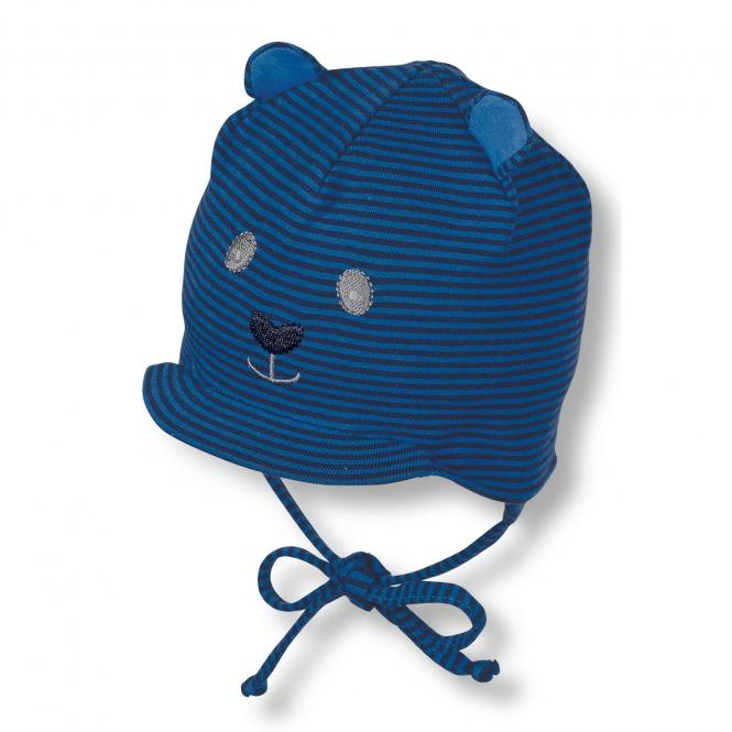 Baby Jungen Schildmütze mit Bärchengesicht Schirmmütze zum Binden, dunkelblau