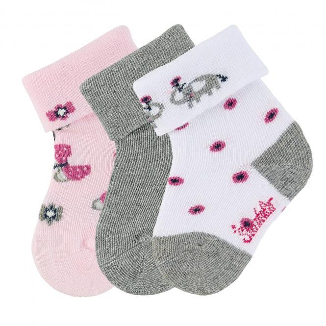 """Baby Mädchen Socken 3er-Pack Babysöckchen Erstlingssöckchen mit Glitzer-Motiven 3 Paar """"Elefant/Frühling/einfarbig"""", weiß, grau, rosa – 8312052"""