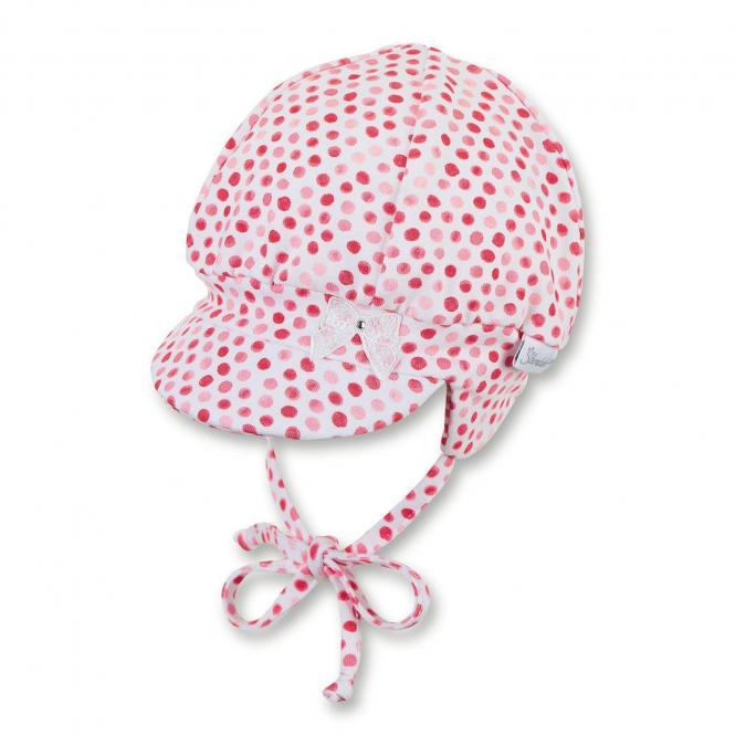 """Baby Mädchen Ballonmütze zum Binden Erstlingsmütze Beanie mit LSF UV-Schutz 50+ Sommermütze mit Schirm und Ohrenschutz """"gepunktet/Glitzerschleife"""", weiß-rot – 1402041"""