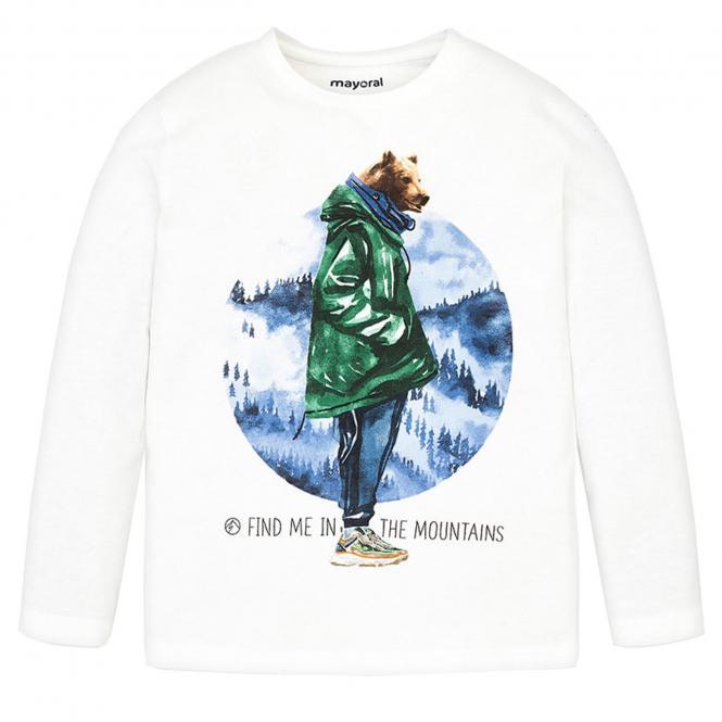 """Jungen Kids T-Shirt Langarmshirt, naturweiß """"Mountain-Bär"""" - 4.033"""