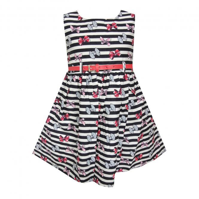 Mädchen Sommerkleid gestreift mit Schleifen, rot - 971394