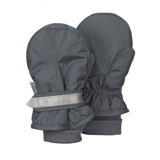 Jungen Fäustlinge Handschuhe wasserabweisend mit reflektierendem Klettverschluss einfarbig, grau - 4301540