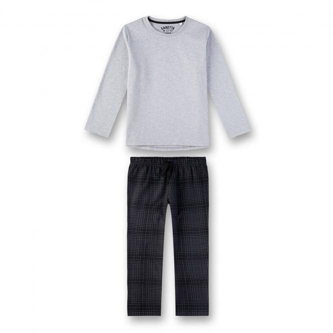 Sanetta Jungen Schlafanzug Langarm grau gemustert - 244544