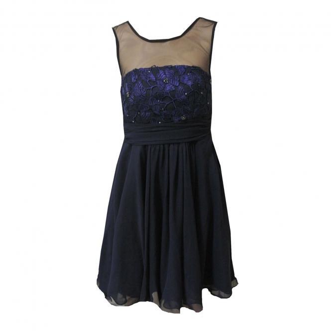Mädchen Festkleid festliches Kleid mit Stola, dunkelblau