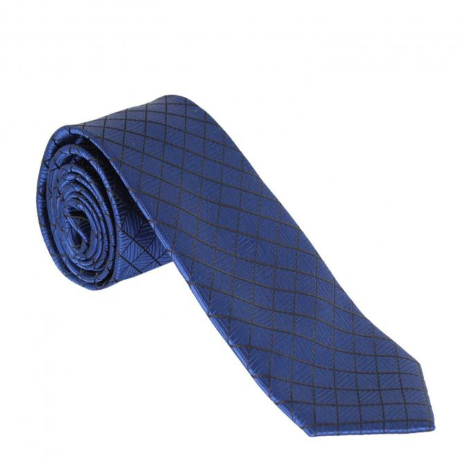 Jungen Schlips Krawatte zum binden gemustert, dunkelblau - 9979300db