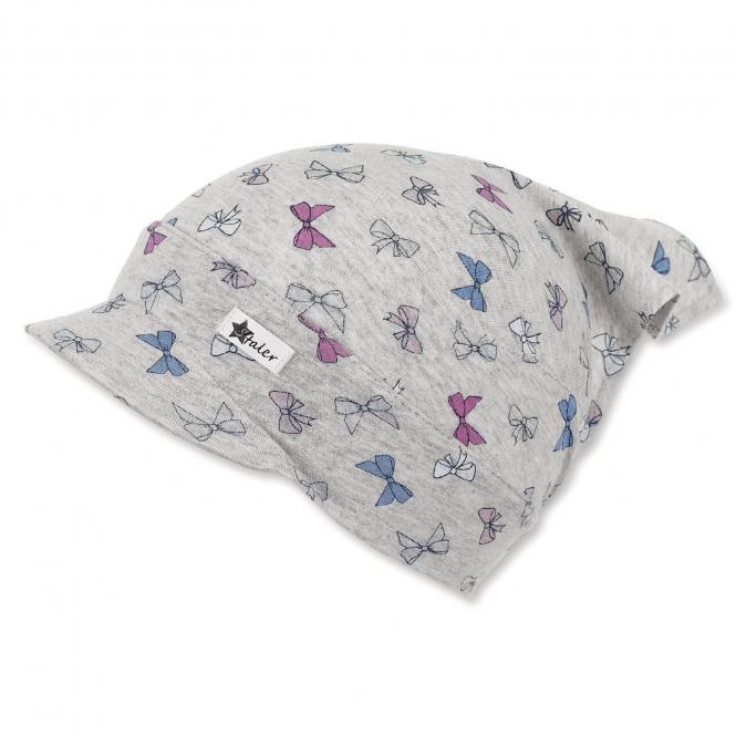 """Mädchen Kinder Baby Kopftuch Tuchmütze mit Schild, LSF UV-Schutz 50+ """"Schleifen"""", silbergrau – 1452021"""