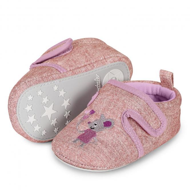 """Baby Mädchen Krabbelschuhe Schuhe mit Klettverschluss, rosa glänzend """"Maus"""" - 5301963"""
