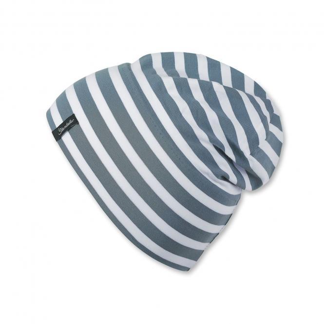 Slouch-Beanie Mütze Jungen gestreift, grau - 1521700