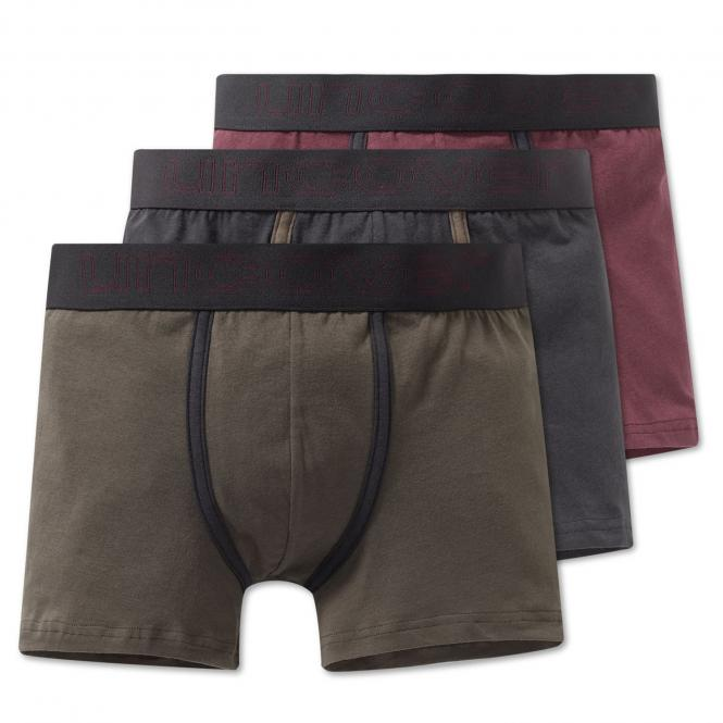 Jungen Unterhosen Shorts 3er Set, olivgrün-grau-weinrot - 163241