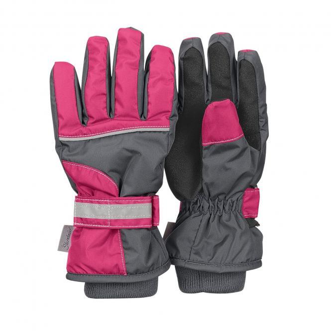 Mädchen Fingerhandschuh Thermo-Handschuh mit reflektierendem Klettverschluss wasserdicht rosa, eisengrau - 4321810-577