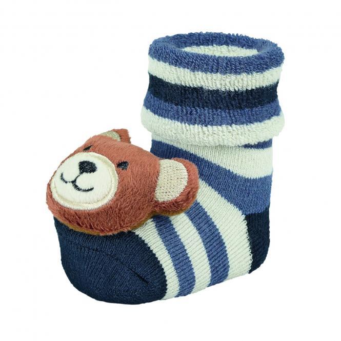 """Baby Jungen Mädchen Rassel-Söckchen Plüsch-Socken, marineblau beige gestreift """"Teddybär"""" - 8441802"""