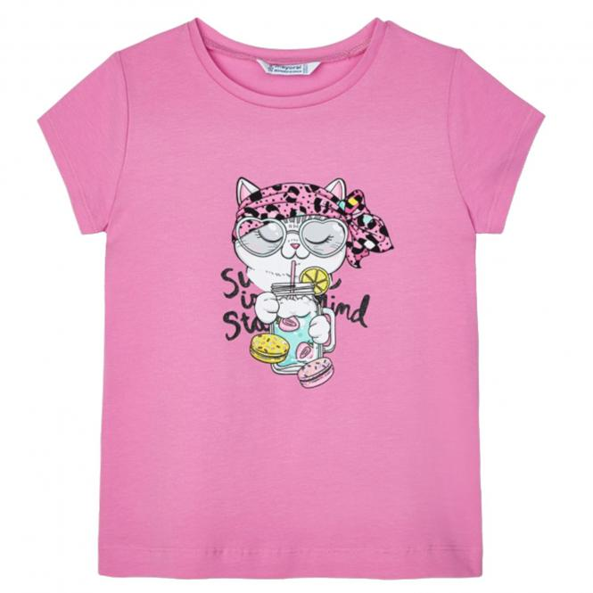 "Mädchen Sommer kurzarm T-Shirt ""Katze"", pink -3020p"