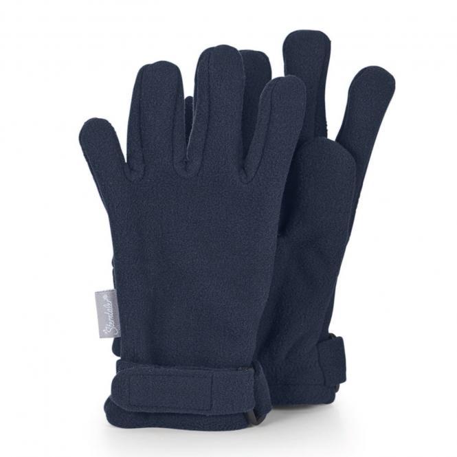 Jungen Handschuhe wasserabweisend Fingerhandschuhe Fleece mit Klettverschluss einfarbig, marineblau - 4321913