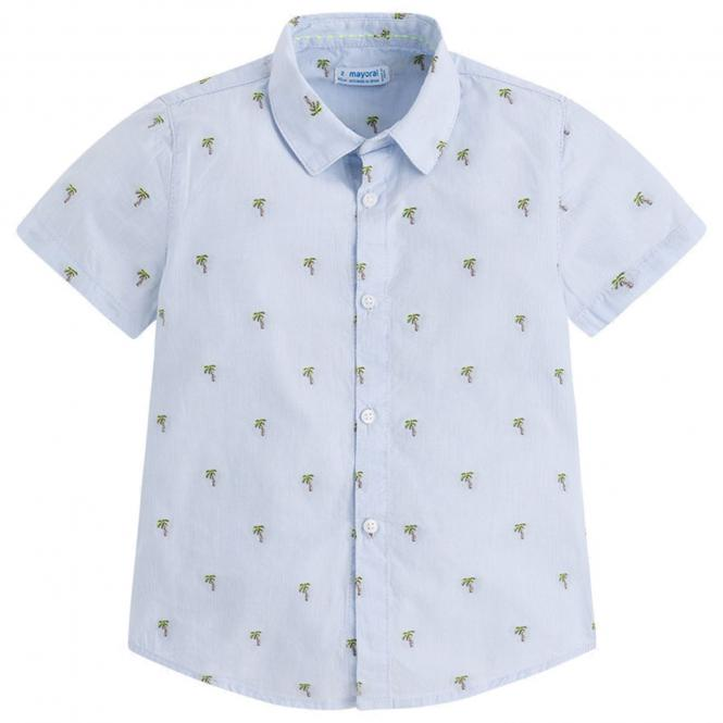Jungenhemd Hemd kurzarm Palmen, hellblau - 3148