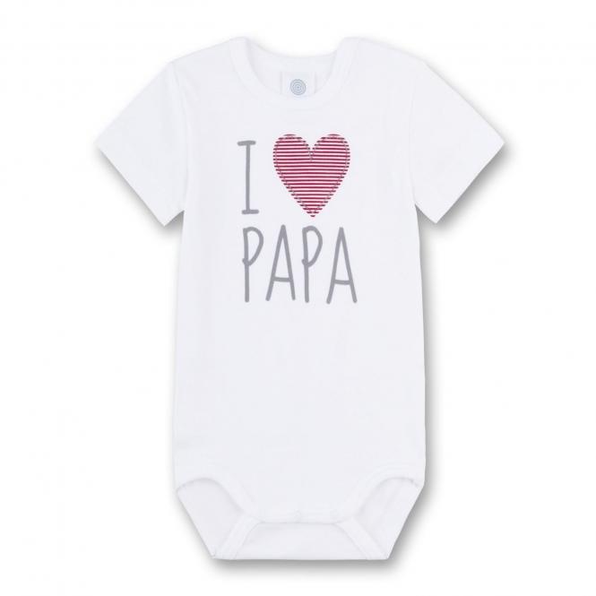 """Baby Body kurzarm 100% Bio-Baumwolle """"I love Papa"""" weiß - 321851"""