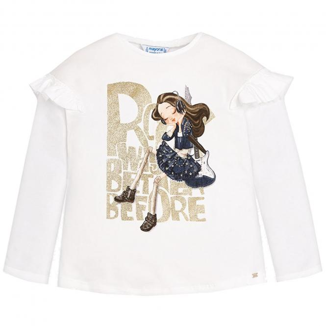Mädchen Shirt mit langen Armen und Mädchenmotiv, weiß - 4.050w