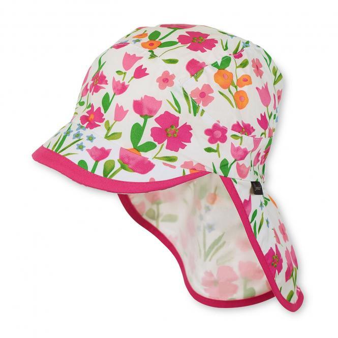 Mädchen Schildmütze mit Nackenschutz Blumenmuster, magenta - 1421821