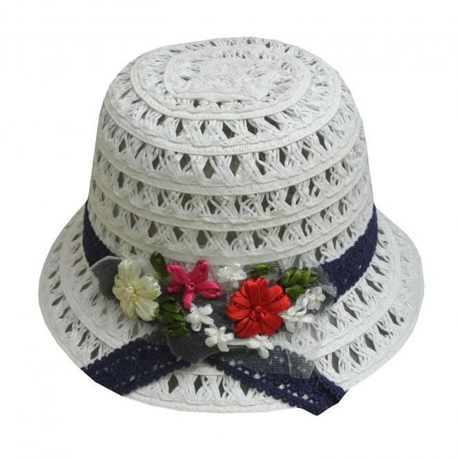 Sommerhut Strohhut festlicher Hut Mädchen, weiß