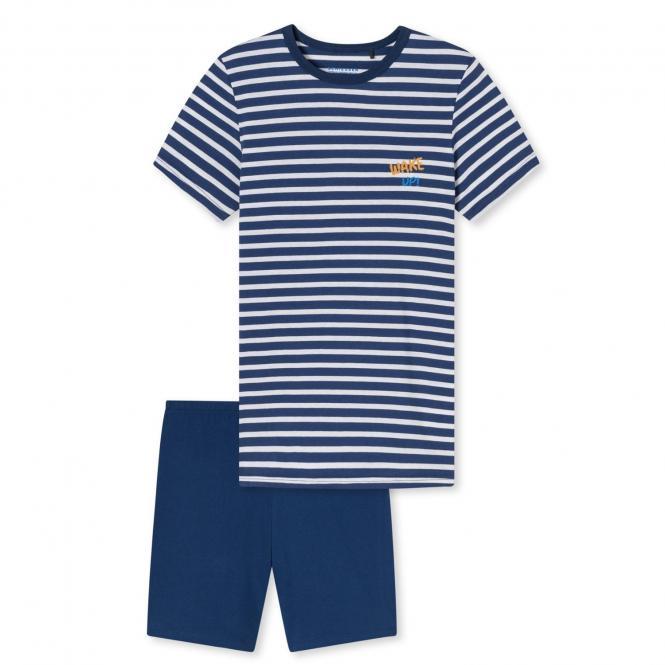 Jungen Schlafanzug Pyjama kurz Sommer gestreift, blau - 173370