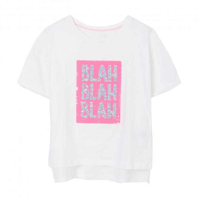 """Mädchen Sommer T-Shirt Pailletten """"BLAH"""" weiß/neonpink -6018"""