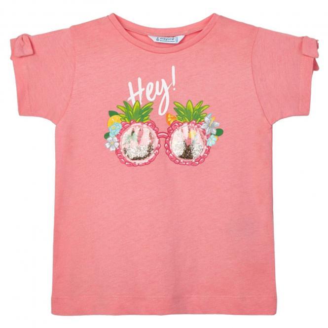 """Mädchen T-Shirt Sommershirt 100% Baumwolle """"Hey!-Glitterbrille"""", lachsrosa - 3.016"""