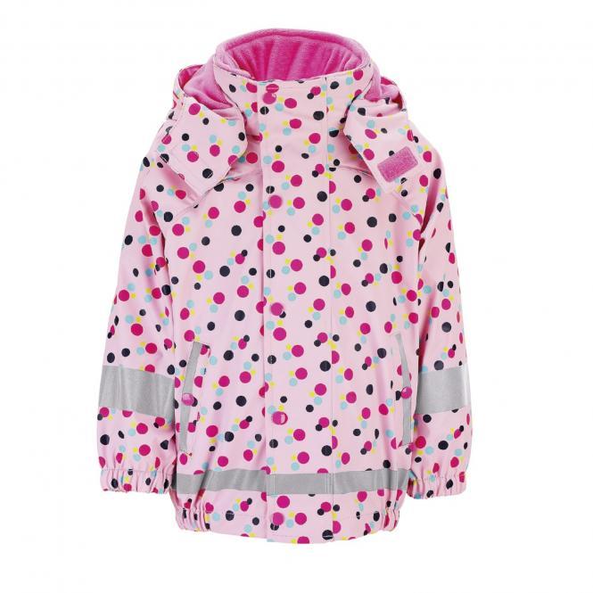 """Sterntaler Mädchen 3 in 1 Multifunktionsjacke Regenjacke mit Fleecejacke und abnehmbarer Kapuze 3000 mm Wassersäule gefüttert """"Punkte"""", rosa – 5652014"""