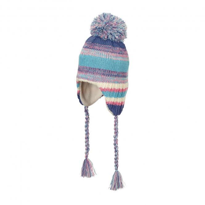 Mädchen Mütze Wintermütze Strickmütze mit Ohrenschutz, Bändel und Bommel Fleecefutter gefüttert, eisblau - 4721831