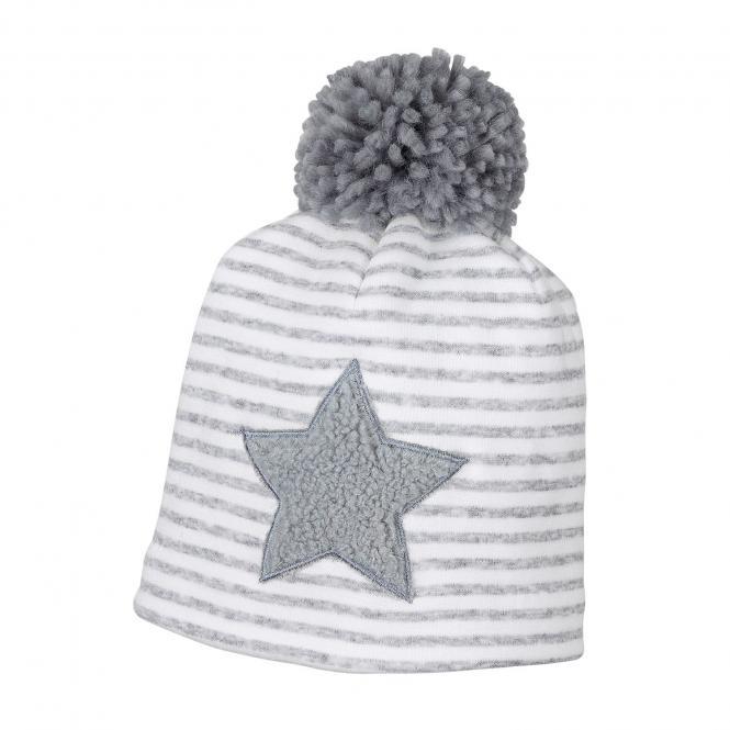 Mädchen Mütze Beanie Wintermütze gefüttert, gestreift, Bommel, Stern mit Fellbesatz, grau - 4611801