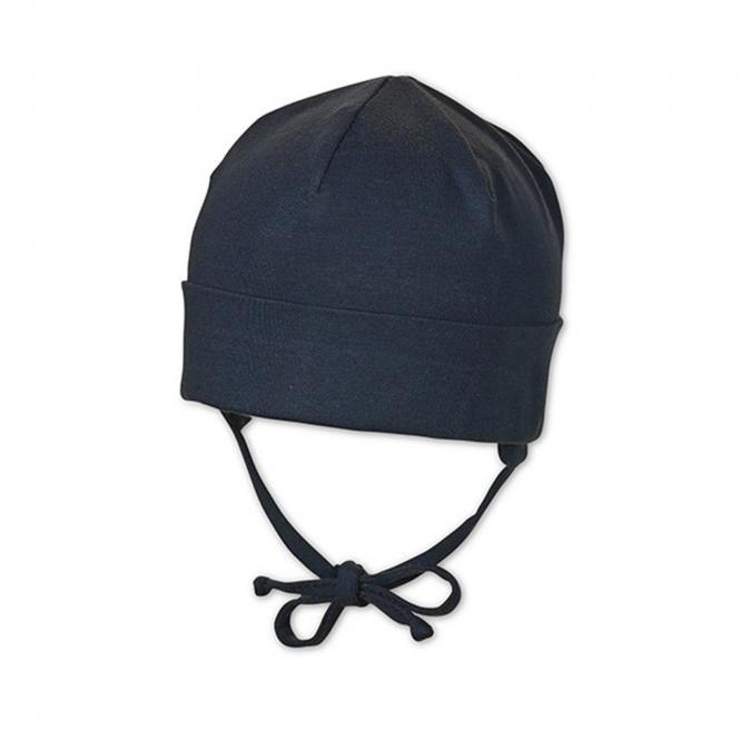 Sterntaler Baby Erstlingsmütze Jungenmütze zum Binden mit Ohrenschutz und UV-Schutz 50+, marine - 1501400