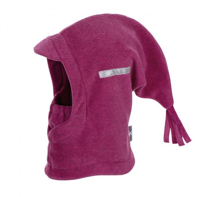Mädchen Schalmütze Wintermütze Fleece mit Reflektoren einfarbig, magenta mel. – 4521440