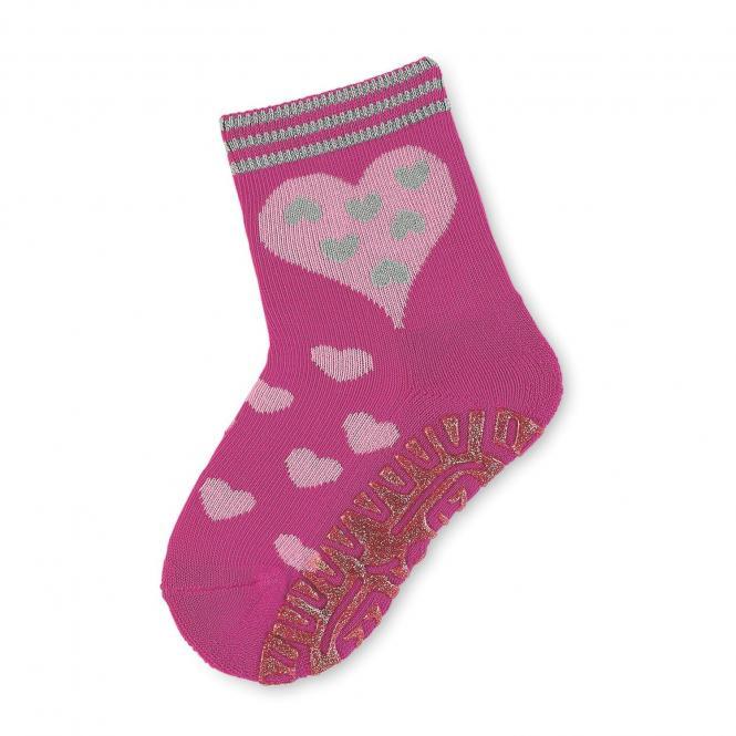 Mädchen Anti-Rutsch-Socken Fliesenflitzer Herzen, himbeer - 8031814