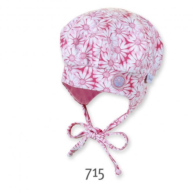 Baby Mädchen Ballonmütze zum Binden Blumenmuster, pink-rosa