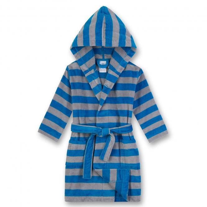 Jungen Bademantel mit Streifen, blau-grau - 232193