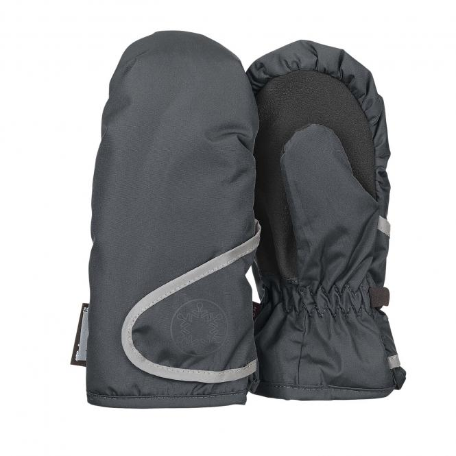 """Jungen Fäustlinge Handschuhe wasserdicht mit reflektierendem Klettverschluss  und verstärkten Handflächen einfarbig """"Schneeflocke"""", eisengrau - 4321802"""