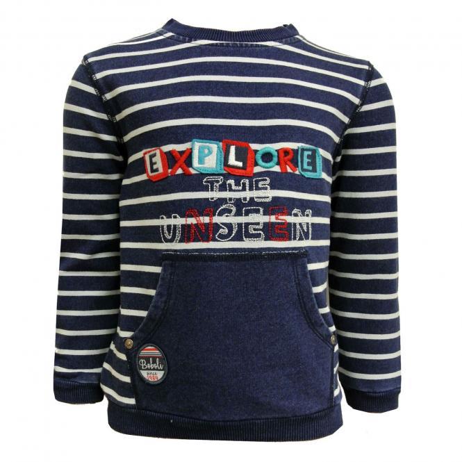 Jungen Sweatshirt gestreift Explore, blau - 324065