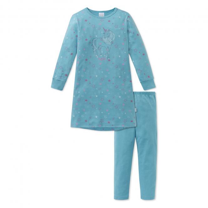 Schiesser Mädchen Schlafanzug lang Einhorn trürkis - 163380