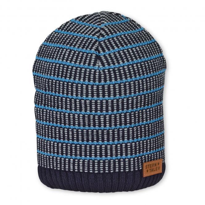 Jungen Wintermütze Strickmütze gestreift mit Baumwollfleece-Futter, marineblau - 4721901