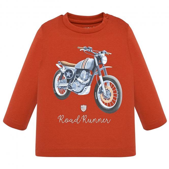 """Jungen Baby Kinder T-Shirt Langarmshirt, ziegelrot """"Motorrad"""" - 2.019"""