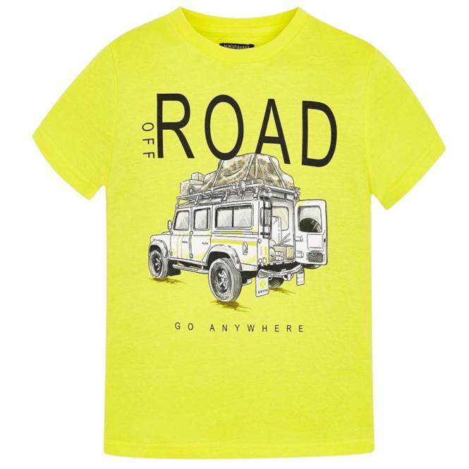 Mayoral Jungen T-shirt kurzarm mit Auto-Motiv,  gelb - 6.036