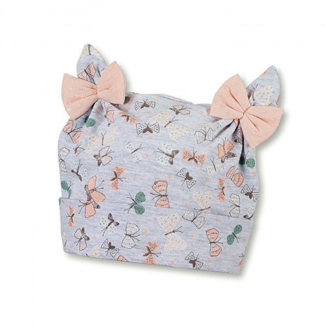 Mädchen Sommermütze Knotenmütze, UV-Schutz 50+, grau mit Schleifen - 1401970