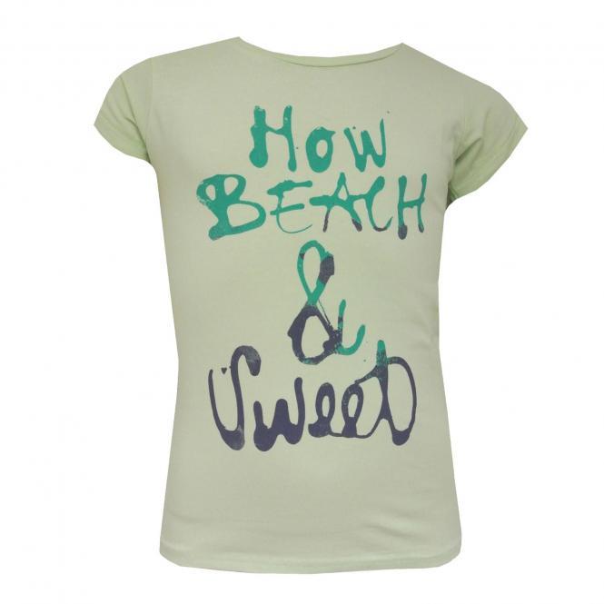Mädchen T-Shirt kurzarm mit großer Applikation und Schriftzug, grün