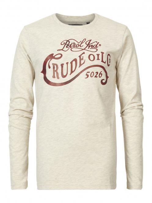 """Jungen T-Shirt Langarmshirt meliert Petrol-Druck """"Crude Oil"""", beige - B-FW18-TLR601"""