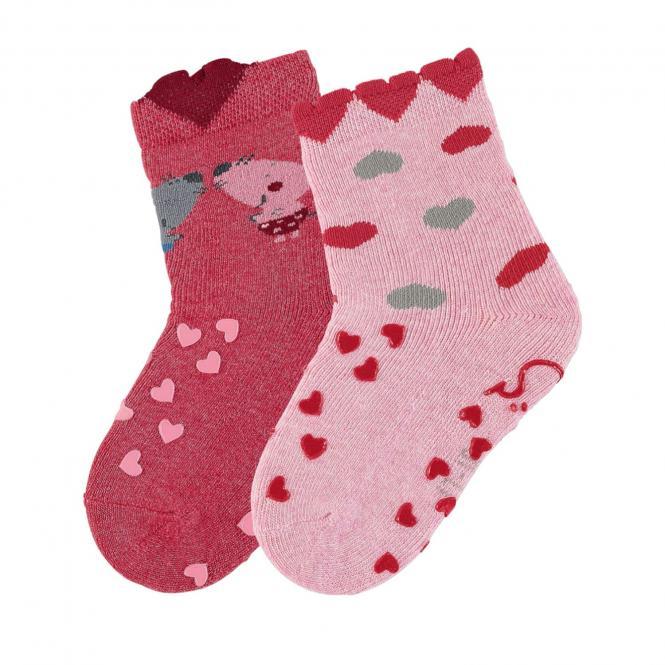 "Baby Mädchen Krabbel-Söckchen gefüttert 2er Pack Anti-Rutsch-Socken Strümpfe mit rutschfester ABS-Sohle ""Maus/Herzen"", beerenrot - 8111925"